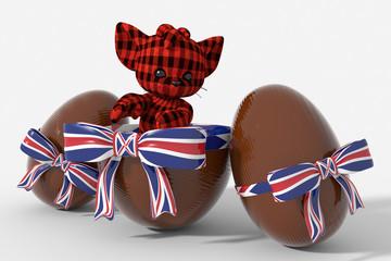 Uovo di Pasqua cioccolato con colori  UK e peluche