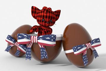 Uovo di Pasqua cioccolato con colori USA  e peluche