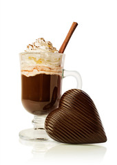 Hot chocolate in a glass and chocolate heart