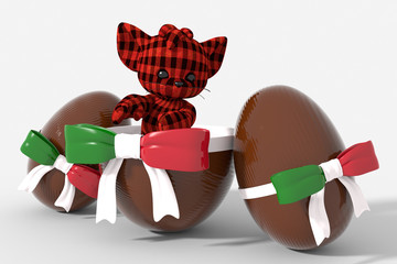 Uovo di Pasqua cioccolato con colori Italia e peluche