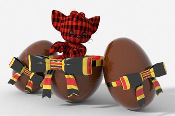 Uovo di Pasqua cioccolato con colori Belgio e peluche