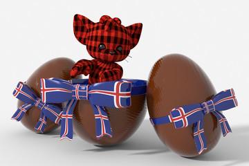 Uovo di Pasqua cioccolato con colori  Islanda e peluche