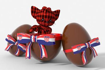 Uovo di Pasqua cioccolato con colori Croazia e peluche