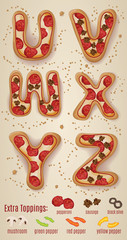 Vector Pizza alphabet letters