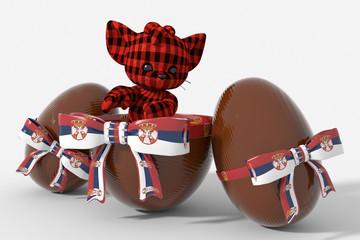 Uovo di Pasqua cioccolato con colori Serbia  e peluche