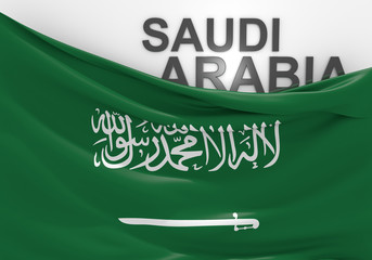 Saudi Arabia flag and country name