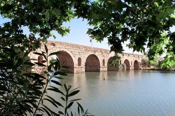 Old antique Bridge on River Guadiana, Merida, Spain