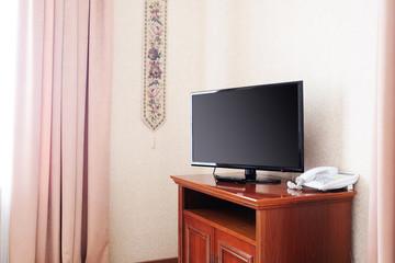Close up of plasma TV in hotel room