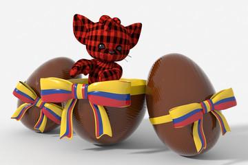 Uovo di Pasqua cioccolato con colori Colombia  e peluche