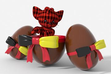 Uovo di Pasqua cioccolato con colori Germania  e peluche