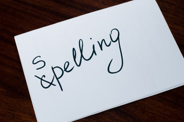 Paper sheet with word spelling