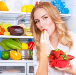 Eating tasty strawberries