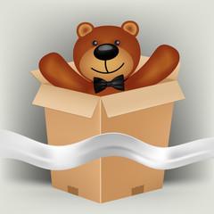 teddy bear in brown gift box