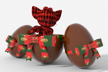 Uovo di Pasqua cioccolato con colori Portogallo e peluche