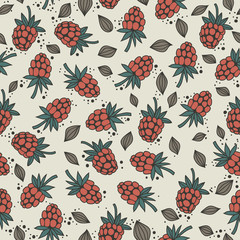 seamless pattern with and raspberry seeds on a light background