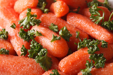 Glazed carrots with parsley macro. background, horizontal