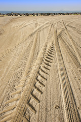Tracks left by a tractor