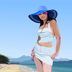 beautiful glamorous girl in broad-brimmed hat on the beach