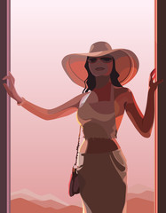 beautiful woman in a hat in pink light