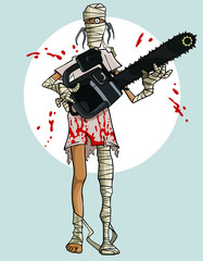 funny cartoon mummy with a chainsaw in the blood