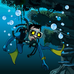 frightened diver under water