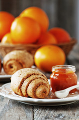Homemade bread and orange jam