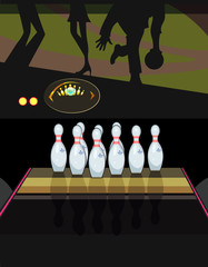 skittles in a bowling alley