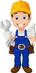 Cartoon mechanic holding a  wrench