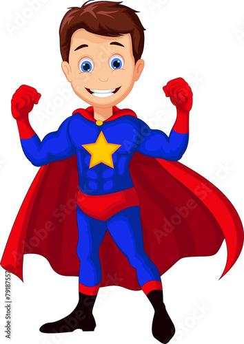 cute superhero posing - 79187557