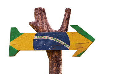 Brazil Flag wooden sign isolated on white background