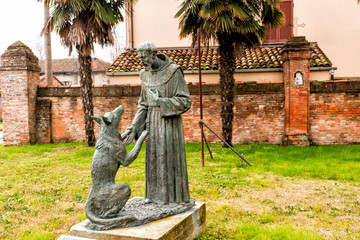 Statue of Saint Francis and the wolf