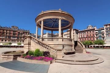Gazebo on Square Castillo Pamplona, Navarra, Spain