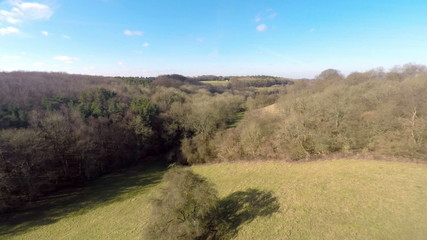 Aerial footage ascending view of the countryside