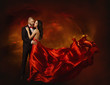 Elegant Couple Dancing in Love, Man and  Woman in Red Dress - 79188989