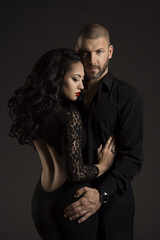 Couple Man and Woman in Love, Fashion Beauty black Portrait