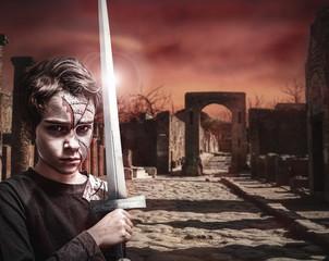 junger Krieger in Ruinenstadt