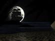 Leinwanddruck Bild - Tropical Beach at Night Moonlight, with Sailboat.