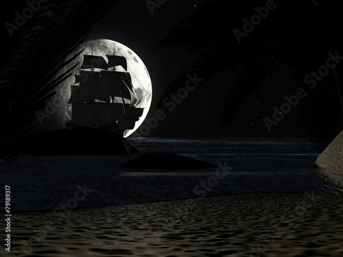 Leinwanddruck Bild Tropical Beach at Night Moonlight, with Sailboat.