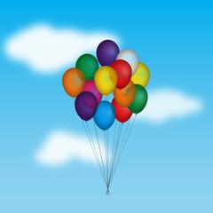 Palloncini colorati che volano nel cielo