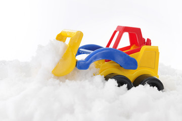 Toy Front Loader Scooping Snow