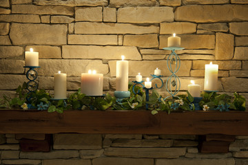 Lit Candles on a Mantle Piece