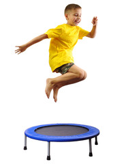 kid exercising and jumping on a trampoline