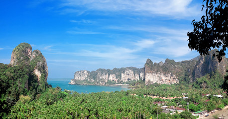 Railay beach from view point. Krabi province. Thailand