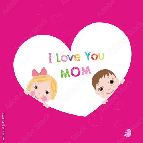 i love you mom with children mother's day greeting card vector - 79191976