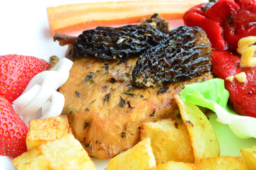Pork steak with Morels, served and decorated