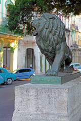 Lion Statues in Central Park of Havana