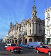 Great Theatre and Heavy Trafic, Old Town, Havana