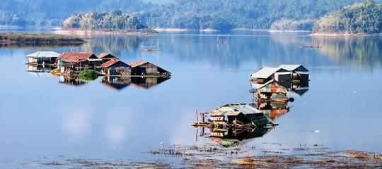 House on lake Vajiralongkorn, province Kanchanaburi, Thailand
