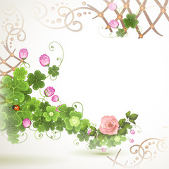 Abstract background with clover and rose