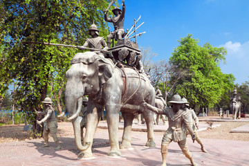 A monument to liberators of ancient capital of Thailand Ayutthay
